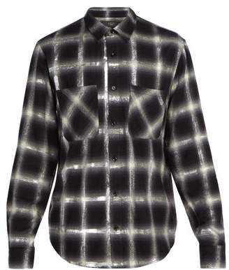 Amiri Glitter Embellished Plaid Cotton Shirt - Mens - White Multi