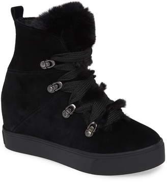 J/Slides Whitney Faux Fur Trim High Top Sneaker