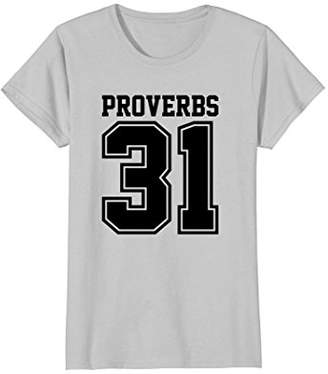 3.1 Phillip Lim Womens Proverbs Blessed Women and Wife Christian T-Shirt