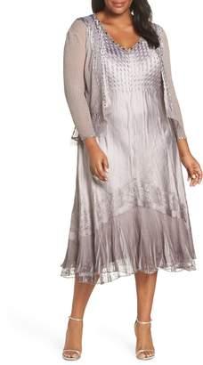 Komarov Sleeveless Charmeuse Dress & Chiffon Jacket
