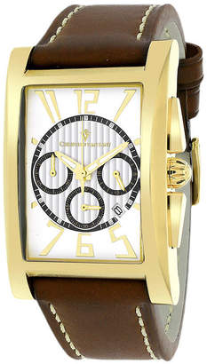 CHRISTIAN VAN SANT Christian Van Sant Mens Cannes Rectangular White & Black Leather Strap Watch