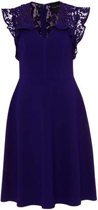 Next Womens Phase Eight Blue Macie Lace Insert Fit Flare Dress