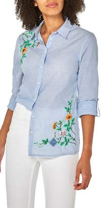 Dorothy Perkins Blue Beaded Embroidered Shirt