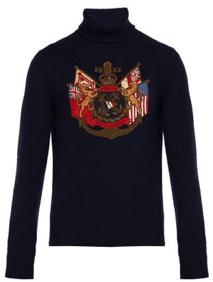 Ralph Lauren Purple Label Insignia Applique Cashmere Roll Neck Sweater - Mens - Navy