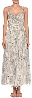 Etro Sweetheart-Neck Beaded-Strap Printed Silk Dress with Slit Midriff