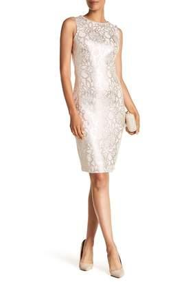 Jax Crystal Embellished Neck Sleeveless Patterned Dress