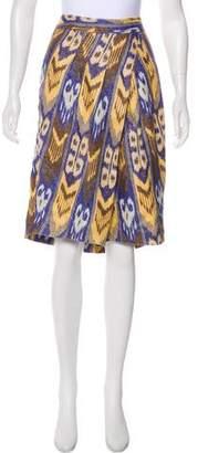 Tory Burch Printed Linen Knee-Length Skirt