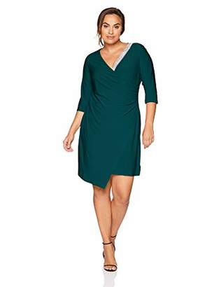 MSK Women's Plus Size Surplice Cocktail Dress with Ruching and Rhinestone Trim