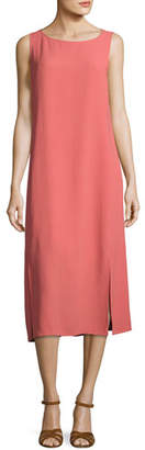 Eileen Fisher Silk Georgette Crepe Midi Tank Dress, Coral