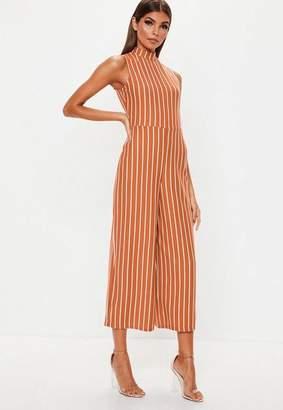 Missguided Rust Stripe High Neck Culotte Romper