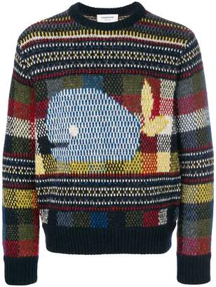 Thom Browne Fair Isle Gingham Check Mohair Tweed Crewneck Pullover