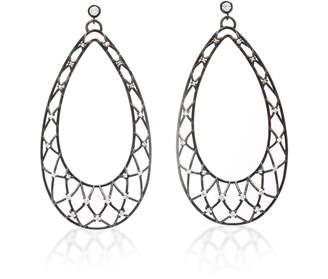 Nancy Newberg Large webbed teardrop earrings