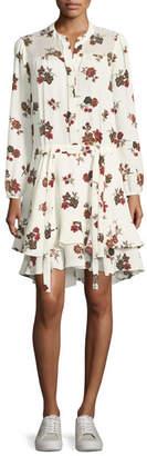 A.L.C. Rori Long-Sleeve Drop-Waist Floral-Print Silk Dress