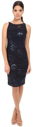 Adrianna Papell Sequin Embroidered Floral Sheath Women's Dress