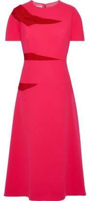 DELPOZO Grosgrain-trimmed Wool-crepe Midi Dress