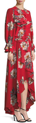 Mikael Aghal Long-Sleeve Ruffled Floral-Print Gown, Red Pattern