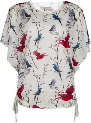Dorothy Perkins Womens **Billie & Blossom White Bird Print Textured T