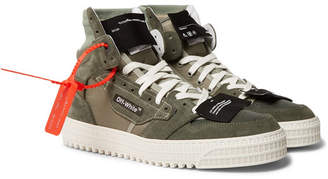 aa5324e06a36 Off-White Off White Off-Court Leather and Suede High-Top Sneakers -