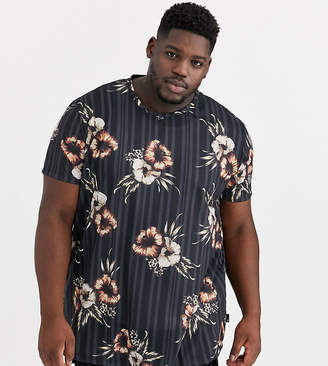 Burton Menswear Big & Tall t-shirt with floral print in black