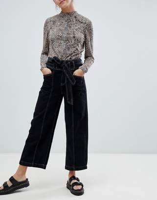 Bershka tie front contrast stitch jean