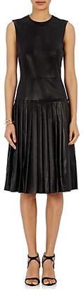 Barneys New York Women's Lambskin Drop-Waist Dress - Black