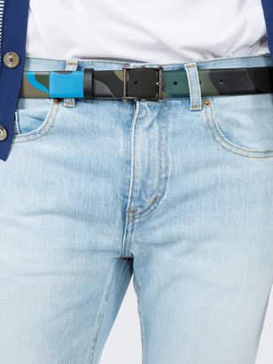Valentino Studded buckle camo belt