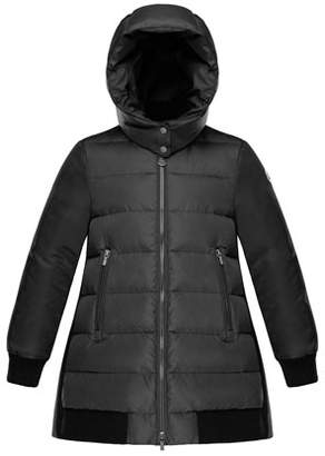Moncler Blois Quilted Coat w/ Contrast Back, Charcoal, Size 4-6