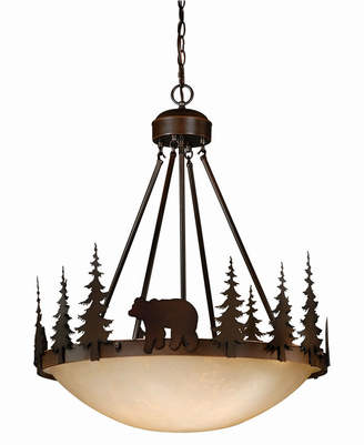 Vaxcel Bozeman Rustic Bear Amber Glass Bowl Pendant Light