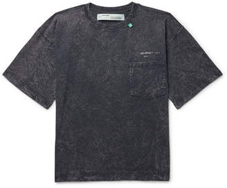 Off-White Off White Acid-Washed Cotton-Jersey T-Shirt - Men - Charcoal