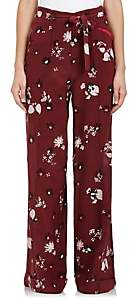 Valentino WOMEN'S FLORAL SILK CRÊPE DE CHINE WIDE-LEG PANTS-YELLOW, RED SIZE 8