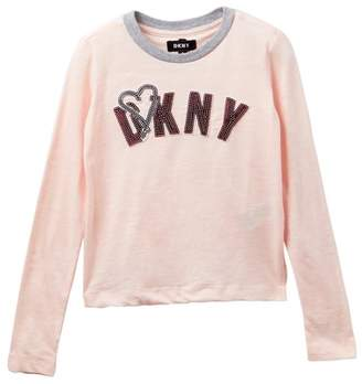 DKNY Long Sleeve Sequin Tee (Little Girls)