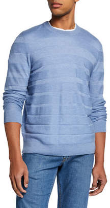Neiman Marcus Men's Textured Stripe Cashmere/Silk Crewneck Sweater