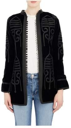 Fivestory New York Short Embroidered Caftan In Black Velvet