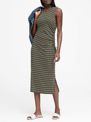 Banana Republic Stripe Ruched Midi Dress
