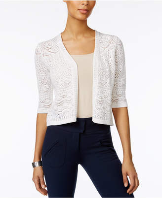JM Collection Petite Cropped Crochet Cardigan, Created for Macy's