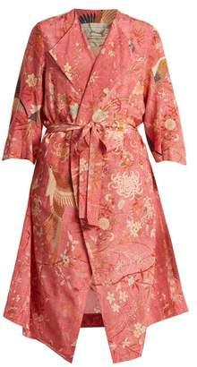 By Walid - Henrietta Bird Print Silk Kimono - Womens - Pink Print