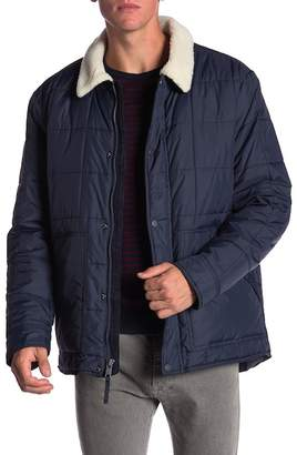 Andrew Marc Faux Shearling Collar & Lined Quilted Jacket