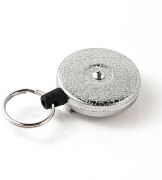 "KEY BAK KEY-BAK Original XD Retractable Key Holder, 28"" Kevlar Cord, Chrome Front, Removable Swivel Belt Clip, 20 oz. Retraction, Split Ring"