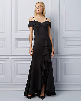 Le Château Scuba Knit Cold Shoulder Ruffle Gown