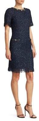 Teri Jon by Rickie Freeman Short-Sleeve Sparkle Tweed Fringe Sheath Dress