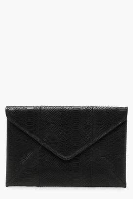 boohoo Faux Snake Panel Detail Envelope Clutch