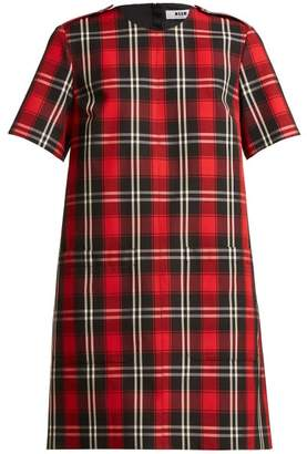 MSGM Tartan Twill Dress - Womens - Red Black