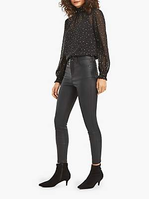 Oasis Lily Coated Skinny Jeans, Black