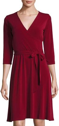 Neiman Marcus 3/4-Sleeve Solid Perfect Wrap Dress, Wine $79 thestylecure.com