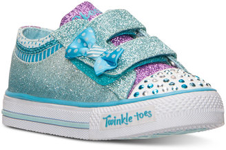 Skechers Toddler Girls' Twinkle Toes: Shuffles - Bow Buddies Light-Up Velcro® Sneakers from Finish Line $44.99 thestylecure.com