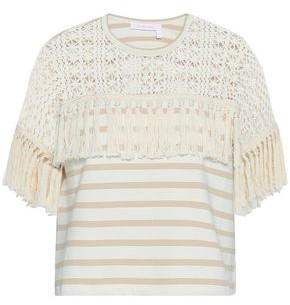 See by Chloe Tasseled Crochet-paneled Striped Cotton-jersey Top