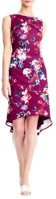 Adrianna Papell Floral High-Low Trumpet Dress