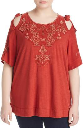 Lucky Brand Plus Embroidered Cold Shoulder Top