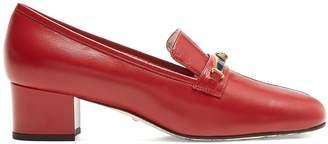Gucci Centre-stripe leather loafers