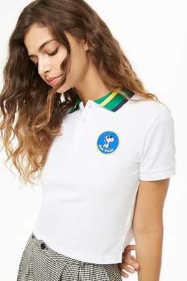 Forever 21 Snoopy Patch Cropped Polo